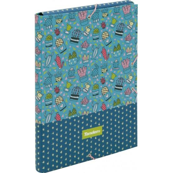 Folio folder with flap and elastics