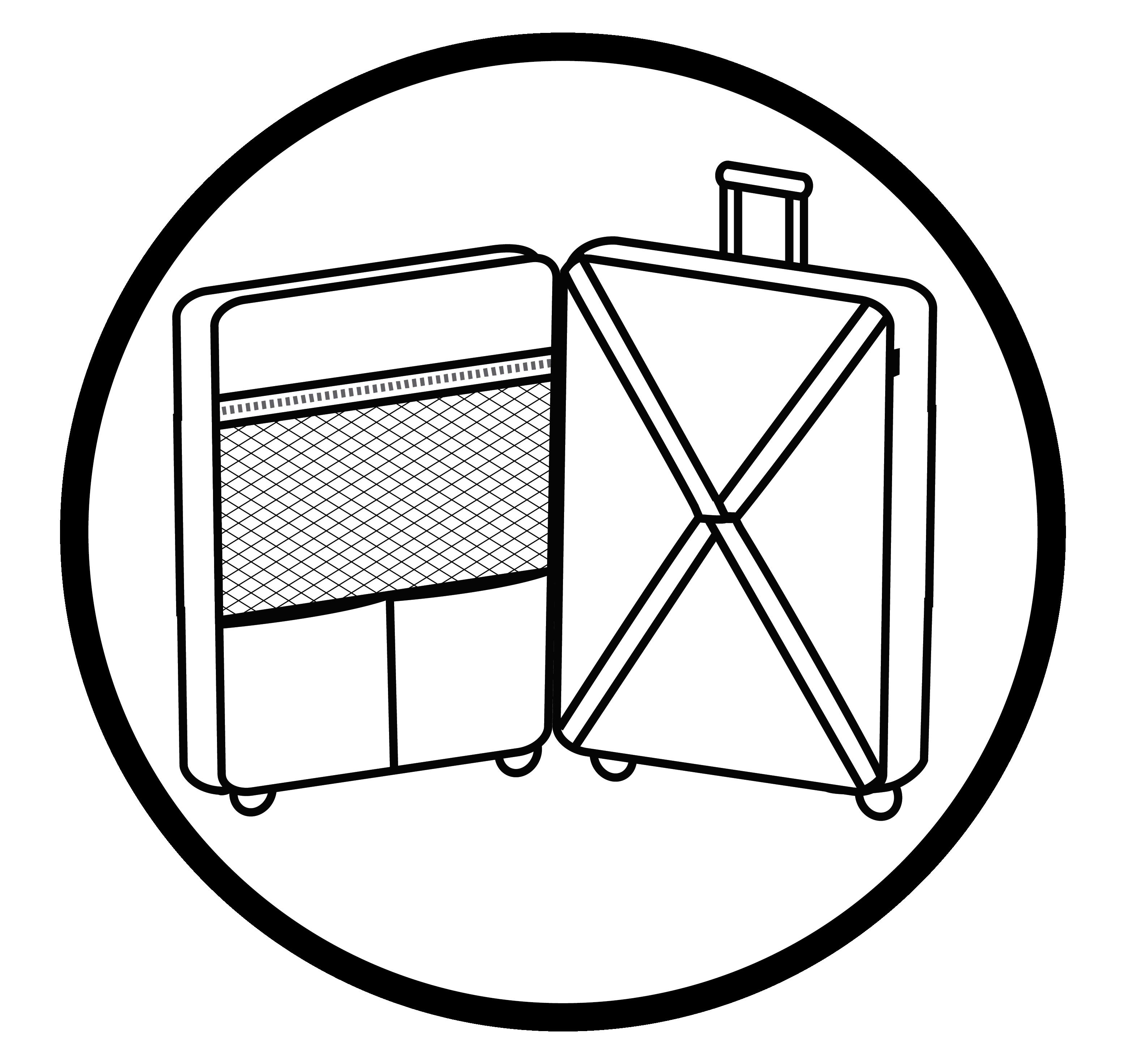 Interior completamente forrado con varios compartimentos