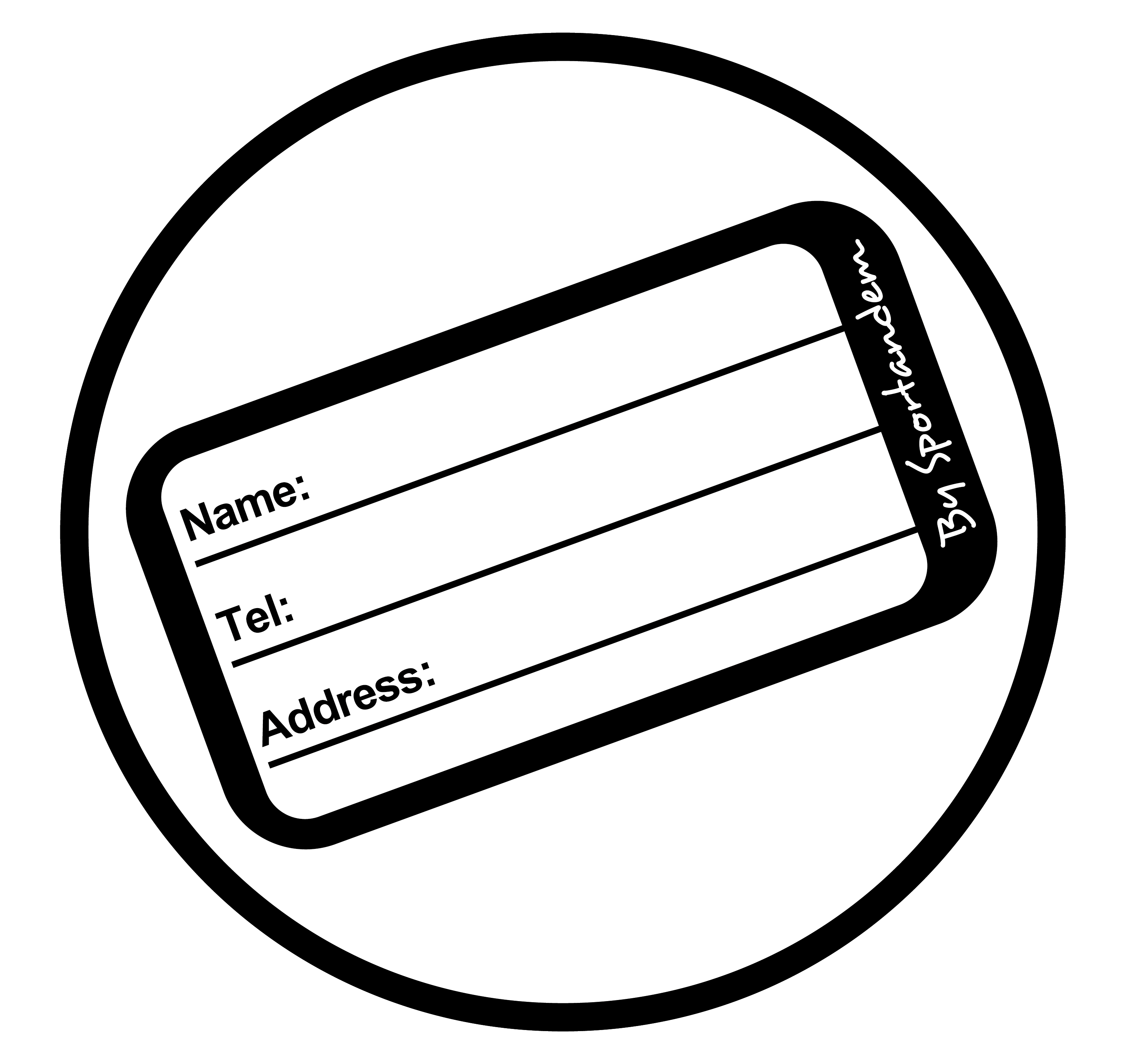 Name tag to write contact information.